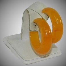 Tequila Sunrise Bakelite Hoop Earrings