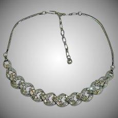Sublime Mid Century Baguette Rhinestone Choker Necklace