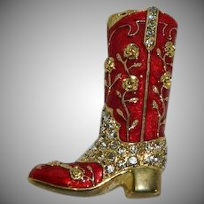 Vintage Red Enamel Rhinestone Cowboy Boot Brooch