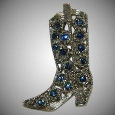 Vintage Rhinestone Cowboy Boot Brooch