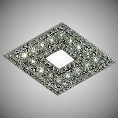 White Metal Caster's Association Art Deco Paste Stone Diamond Brooch