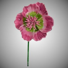 Huge Pink Enamel Flower Power Brooch 1960's