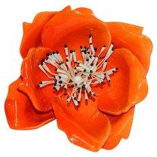 Huge Orange Flower Power Brooch Enamel over Mold-able Plastic