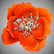 Huge Orange Flower Power Brooch Enamel over Mold-able Plastic