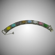"1960 Sarah Coventry ""Party Pastels"" Art Glass Stone Bracelet"