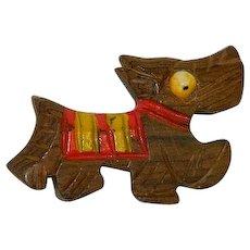 Charming Scottie Dog Wood Early Plastics Brooch