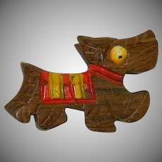 Charming Scottie Dog Wood Early Plastics Brooch