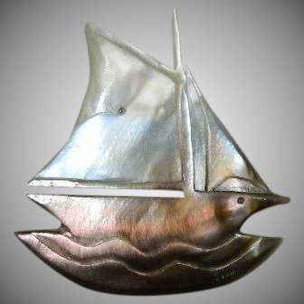 Vintage Mother of Pearl Ship Brooch