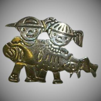 Mexico Sterling Children Playing Brooch and Pendant Copy Right I.W. 925