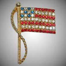 Rafaelian Signed Rhinestone Old Glory Flag Pin Brooch