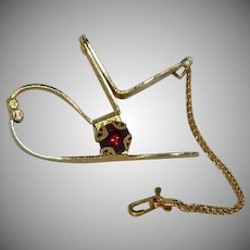 Spectacular Red Glass Stone Glove Holder Clip Marked Doran Numbered