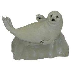 "Vintage Franklin Mint ""Snow Pup"" Sculpture on Ice burg Stand"