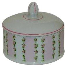 Vintage Pink Roses Dresser Jar Powder Jar Japan