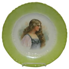 Austrian Portrait Plate Green Long Haired Lady