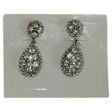 Stunning Rhinestone Drop Dangler Earrings on Original Card