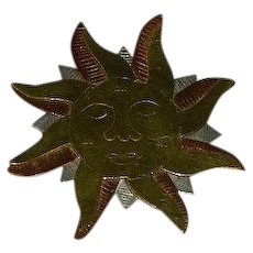 Mixed Metal Sun Goddess Brooch Pin