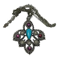 Sarah Coventry Canada Purple Rhinestones Turquoise Stone Pendant