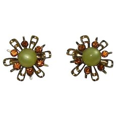 Pair of Moon glow Rhinestone Sunburst Scatter Pins