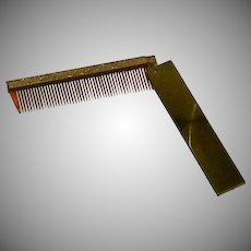 Vintage Tortoise Shell Brass Etched Folding Comb
