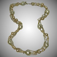 Multi Strand Faux Baroque Pearl Seed Pearl Necklace