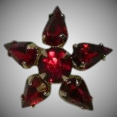 Vintage Blood Red Five 5 Pointed Bohemian Star Pin