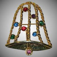 Vintage Christmas Bell Multicolored Rhinestone Brooch