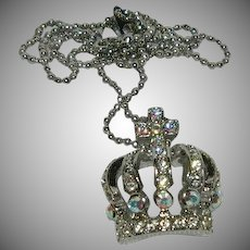 """Sparkling Royal Crown Queen's Rhinestone Pendant on 15"""" Bead Chain"""