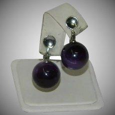 Sexy Purple Moonglow Bead Dangler Earrings