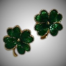 Vintage Avon Green Enamel 4 Leaf Clover Earrings for Pierced Ears