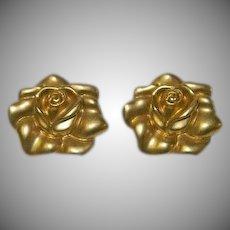 Vintage Avon Large Gold Matte Finish Rose Earrings for Pierced Ears