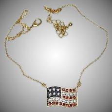 Nina Ricci for Avon Rhinestone American Flag Necklace