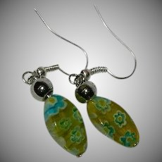 Unique Color Millefiori Italian Art Glass Dangler Earrings