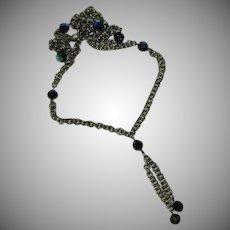 Art Deco Glass Beaded Tassel Chain Sautior Necklace