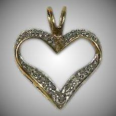 Pretty Vermeil Diamond Accent Heart Pendant