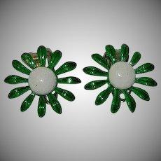 DuBarry Sweet Summer Green Enamel Daisy Flower Earrings