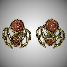 Amazing Gold Stone Egyptian Revival Clip Earrings