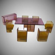 Mid Century Modern Acrylic Wood Doll House Furniture Set