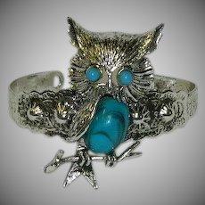 Vintage Faux Turquoise Owl Cuff Bracelet