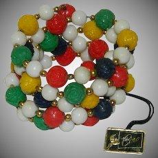 Pegasus Coro Colorful Rose Beaded Memory Wire Bracelet with Original Hanging Tag