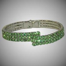 Daring Lime Green Rhinestone Spangled Clamper Bracelet