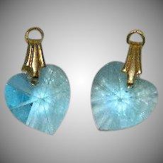 Vintage Brilliant Blue Crystal Heart Charms
