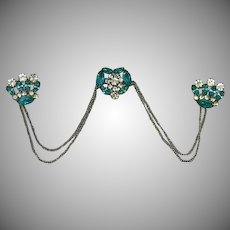 Aqua Rhinestone Swag Chatelaine Crowns Triple Pin Brooch Set