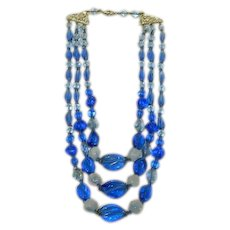 Sublime Cobalt Blue Glass & Opaline Bead Triple Strand Necklace