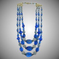 Sublime Cobalt Blue Glass & Opaline Bead Triple Strand Necklace