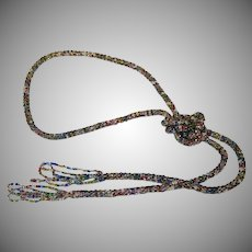 Art Deco Seed Bead Rope Lariat Necklace 47""