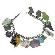 Loaded Sterling Silver United States Charms Bracelet