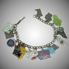 Loaded Sterling Silver United States Charms Bracelet