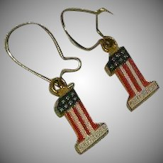 Vintage Harley Davidson Number 1 Red White Blue Earrings