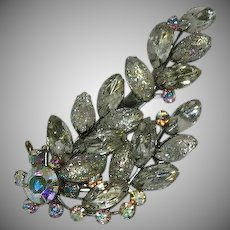 Massive Art Glass AB Rhinestone Floral Spray Brooch