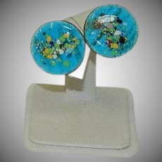Brilliant Robin Egg Blue Enamel Speckled Disk Earrings